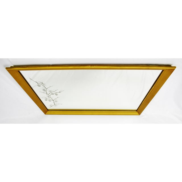 MCM Gold Gilt Framed Etched Glass Wall Mirror For Sale - Image 4 of 13