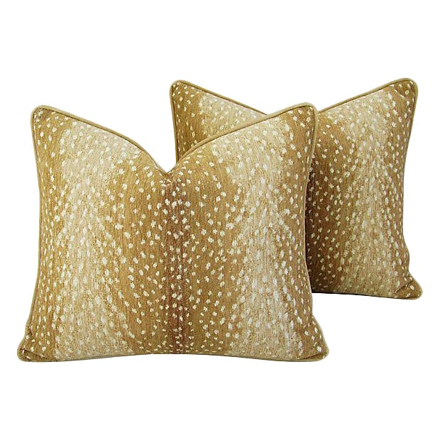 "Wild Animal Antelope Deer Fawn Velvet Feather/Down Pillows 21"" X 18"" - Pair For Sale"