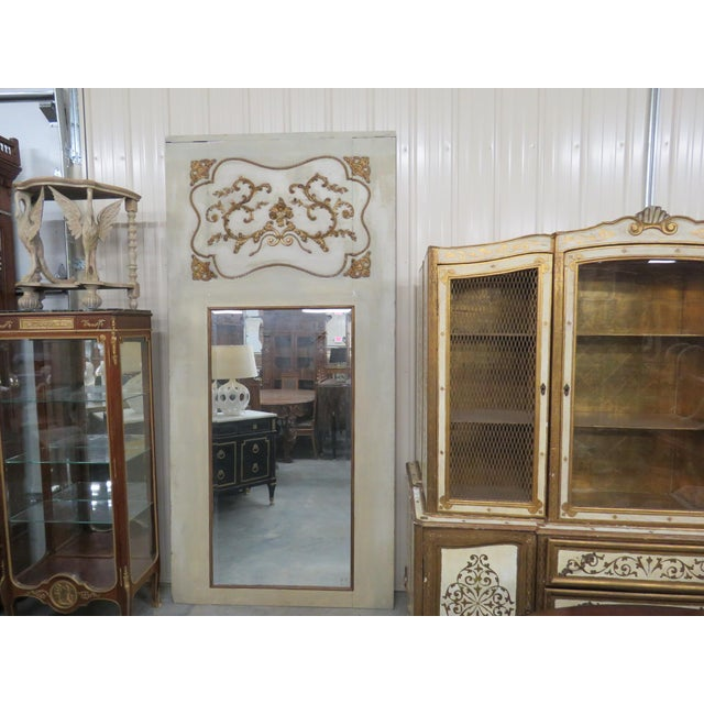 Antique 19thC Swedish distressed painted trumeau mirror with paint decor.