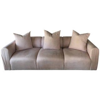 Blush Ultra Suede 80s Modern Ruched Arm Sofa With Matching Pillows For Sale