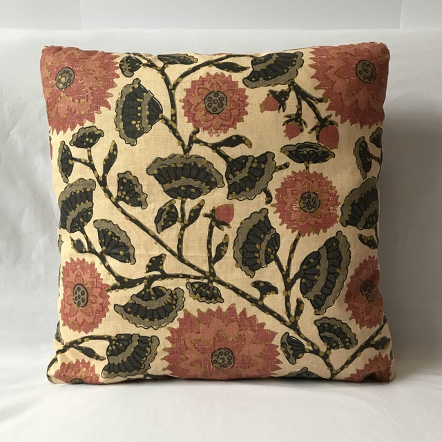 Boho Chic Custom Linen Floral Print Decorative Pillow For Sale - Image 3 of 3