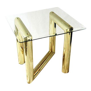 Tubular Brass Side Table Attributed to Karl Springer For Sale