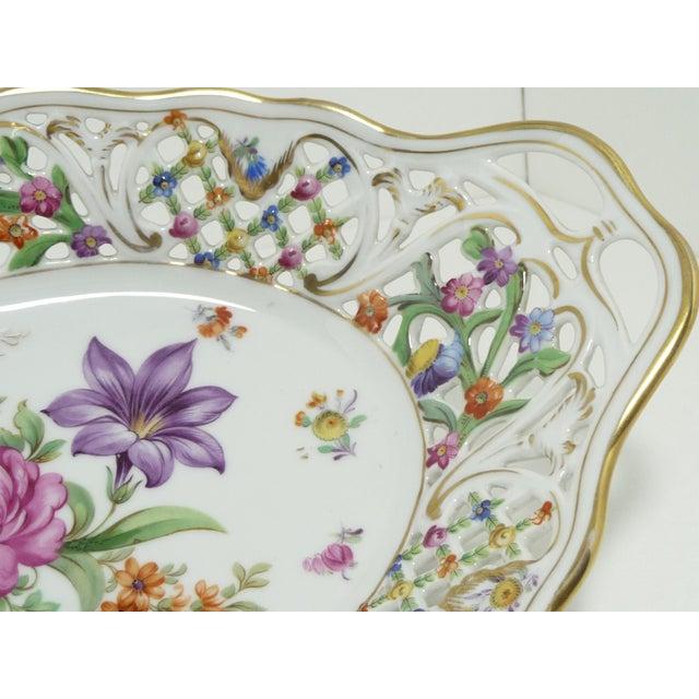 Vintage Porcelain Schumann Dresden Floral Bouquet Oval Serving Dish W Handles - Image 4 of 8