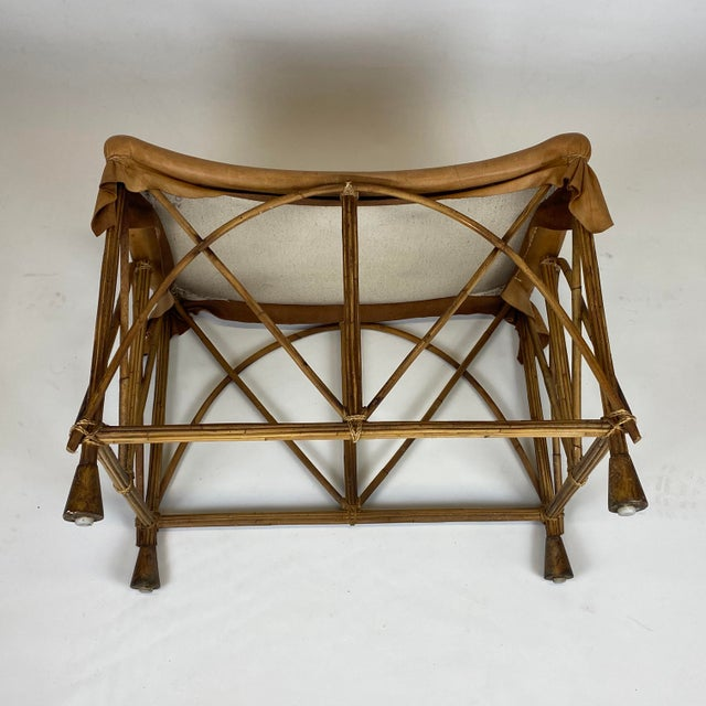 Late 20th Century Rattan Stool With Soft Leather Seat For Sale - Image 9 of 12