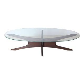 Adrian Pearsall Mid-Century Modern Star Base Oval Glass Top Coffee Table Jacks