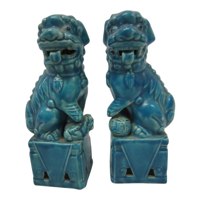 Japanese Turquoise Foo Dogs - A Pair - Image 1 of 7