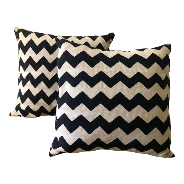 Madeline Weinrib Black Chevron Block Print Pillows - A Pair For Sale