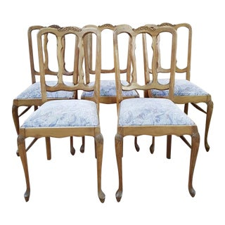 Antique Carved Solid Oak Reupholstered French Provincial Dining Chairs - Set of 5