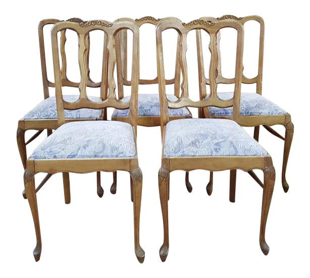 Antique Carved Solid Oak Reupholstered French Provincial Dining Chairs - Set of 5 For Sale  sc 1 st  Chairish & Antique Carved Solid Oak Reupholstered French Provincial Dining ...