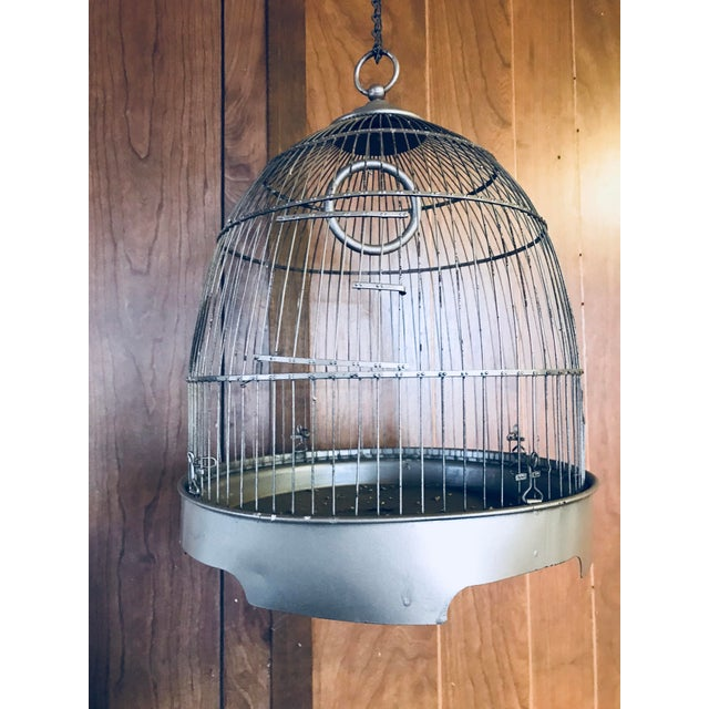 Vintage Brass Metal Dome Hanging Bird Cage - Image 7 of 7