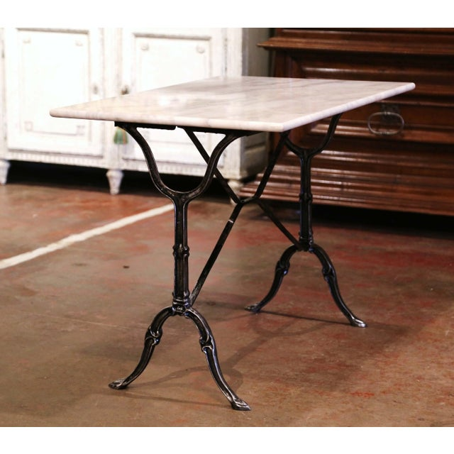 Metal Early 20th Century French Polished Iron and Marble-Top Bistrot Table For Sale - Image 7 of 10