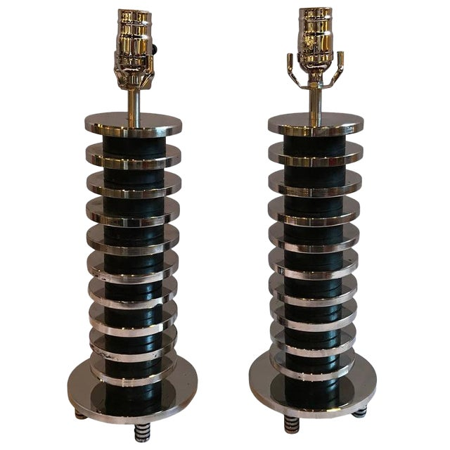 Chrome Mid-Century Modern Spinal Disk from Table Lamps in Chrome - A Pair For Sale - Image 7 of 7