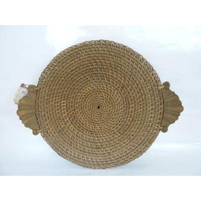 "Vintage hand made ""Hapao Saucer"" Basket hand made from split rattan with a spiral 'twisted' rattan core and carved..."