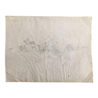 1930s Vintage Eliot Clark Impressionist Inspired Countryside Scene Drawing For Sale