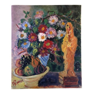 French Floral and Fruit Still Life Oil Painting For Sale