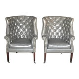 Image of Vintage Gray Chesterfield Chairs - a Pair For Sale