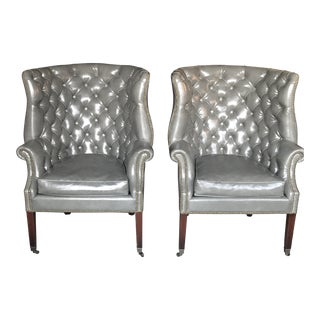 Vintage Gray Chesterfield Chairs - a Pair For Sale