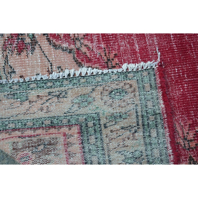 Modern Turkish Oushak Handwoven Tribal Red Wool Floral Rug For Sale - Image 4 of 7