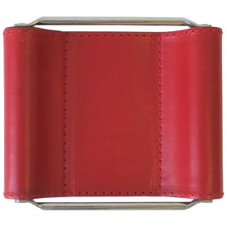 Italian Red Leather Jewelry Dish Vide-Poche or Desk Vessel For Sale