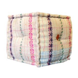 Hand-Embroidered Bengal Kantha Cube For Sale