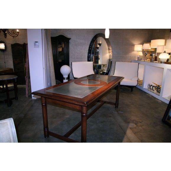 Italian 50's Inlaid Zinc Oak Table For Sale In Los Angeles - Image 6 of 9