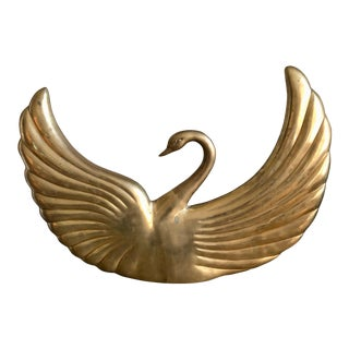 Vintage Dolbi Cashier Deco Brass Swan Large Huge Glam For Sale