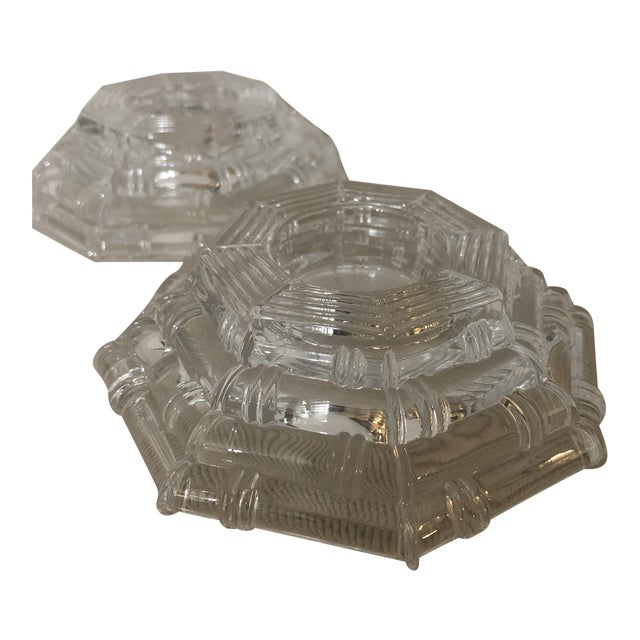 Vintage Glass Bamboo Pattern Tea Light Holders - a Pair For Sale