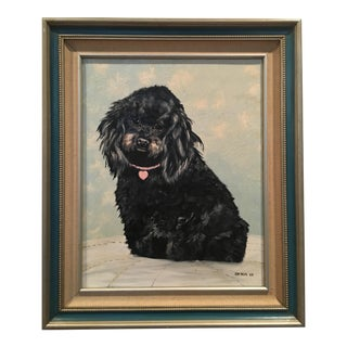 Vintage Framed Terrier Dog Oil Painting