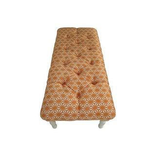 """50"""" Thibaut Tufted Bench in Orange Starburst Linen Preview"""
