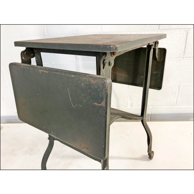 Vintage Industrial Green Typewriter Table with Double Drop Leaf For Sale - Image 4 of 13