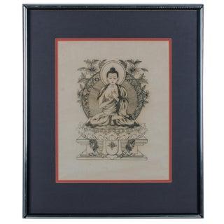 Vintage Mid-Century Tibetan Buddha Woodblock Print For Sale