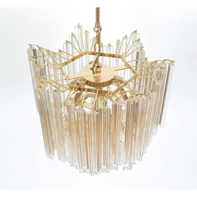 Murano Four-Tier Chandelier with Murano Glass Triedri Prisms For Sale - Image 4 of 7