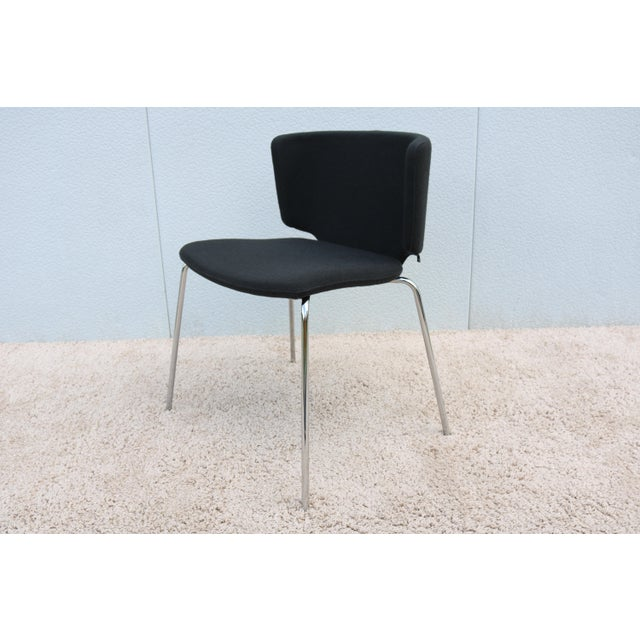 Mid-Century Modern Modern Spain Mark Krusin for Coalesse Wrapp Stackable Black Guest Chair For Sale - Image 3 of 13