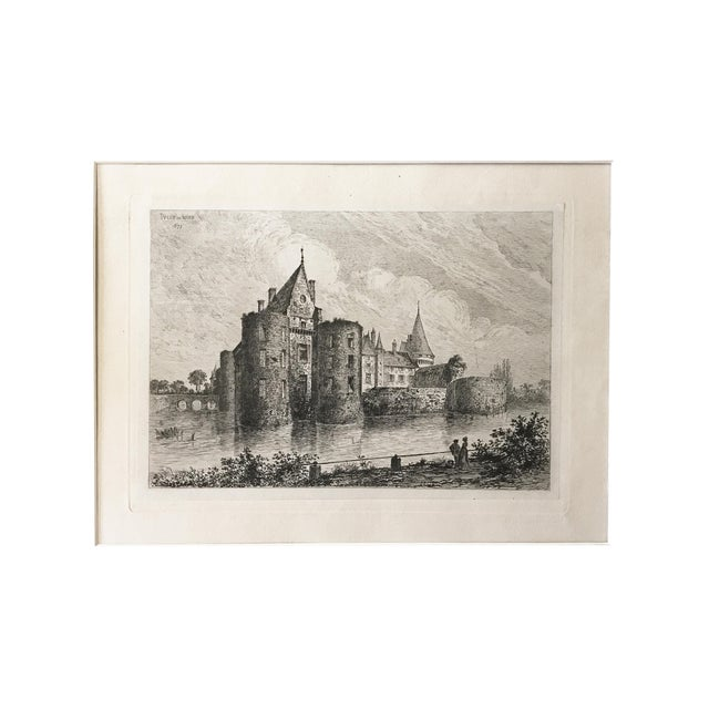 1877 French Chateau Sully-Sur-Loire Castle Etching For Sale