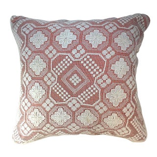 Cottage Vintage Crochet Fresh White and Peach Pillow For Sale
