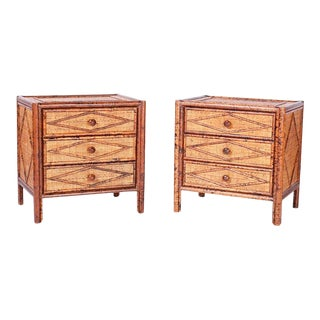 Mid Century British Colonial Style Faux Burnt Bamboo and Grasscloth Chests - a Pair For Sale