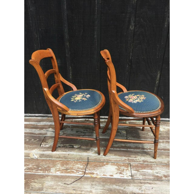 1900s Needlepoint Seat Wooden Chairs - Set of 2 For Sale - Image 5 of 11
