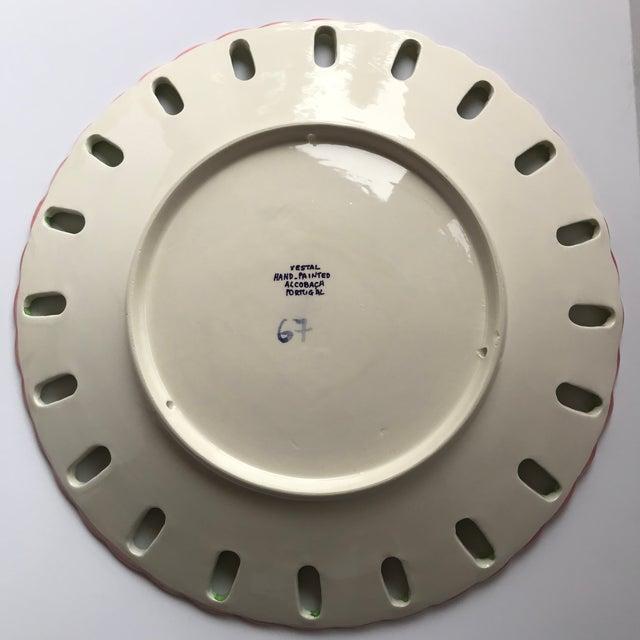 Ceramic Vintage Vestal Alcobaca Majolica Hand Painted Pink & Green Plates - Set of 4 For Sale - Image 7 of 9