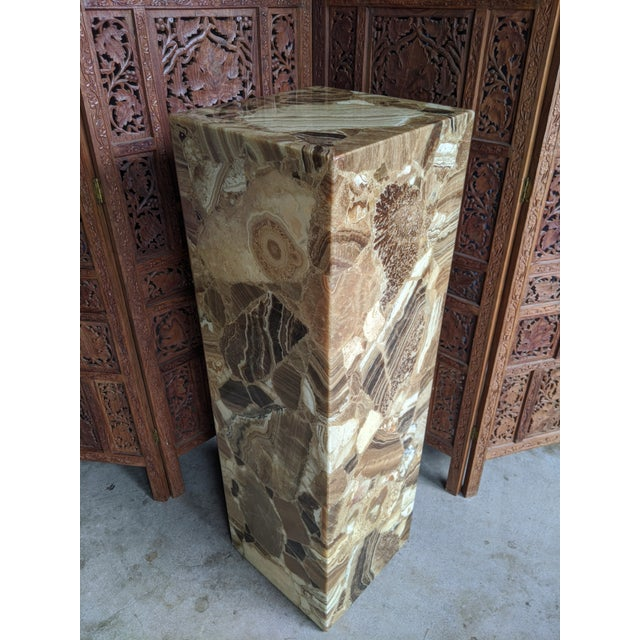 Muller of Mexico Arturo Pani for Muller of Mexico Onyx Stone Pedestal For Sale - Image 4 of 13