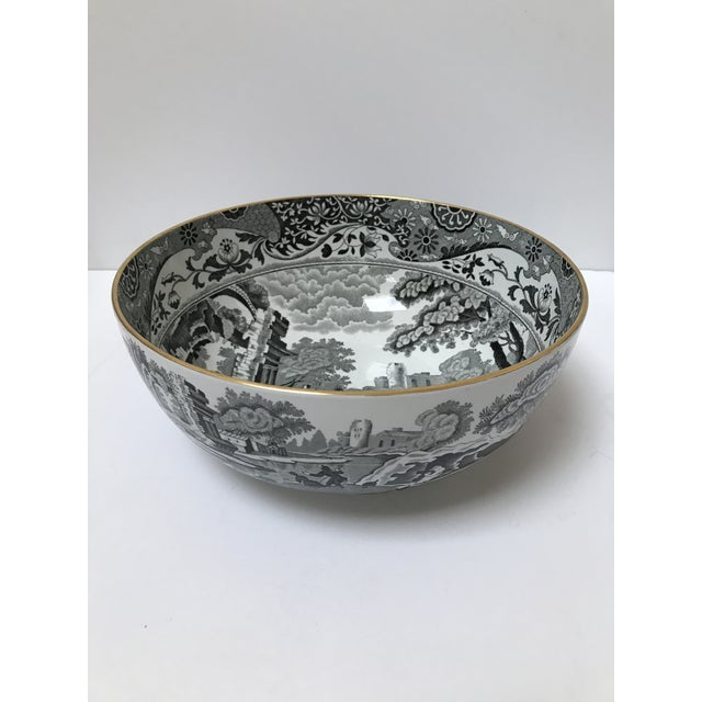 Large Spode serving bowl with gold rim. Marked Italian. Beautiful black traditional pattern. Would be a stunning addition...