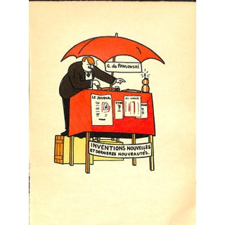 Paris Storefront, French Lithograph, Inventions Nouvelles, Guilac 1925, Matted For Sale