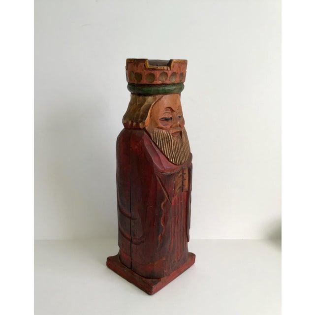 Gothic Vintage Carved Wood King Wine Bottle Holder For Sale - Image 3 of 7