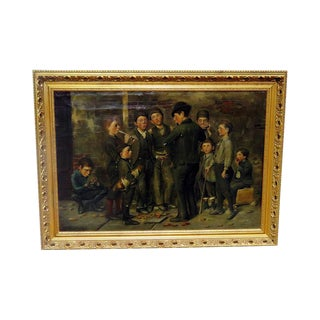 """Boys Playing Instruments"" Signed Painting For Sale"