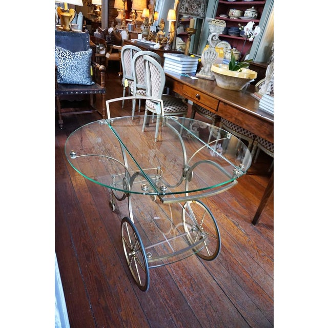 Art Deco French Brass and Glass Service Table For Sale - Image 3 of 10