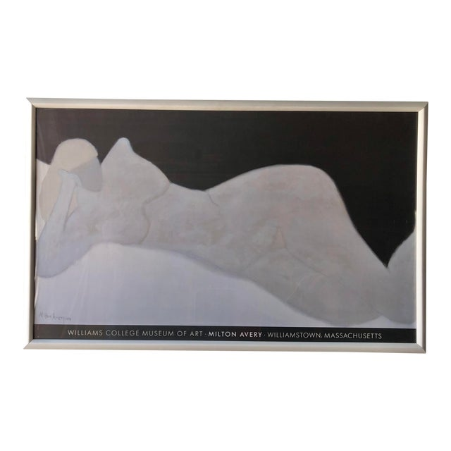 Rare Milton Avery 'Reclining Blonde' Framed Lithograph Print Exhibition Poster. For Sale