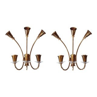 Six-Light Brass & Clear Glass, Mid-Century Modern Sconces, Stilnovo Style, Italy 1960s For Sale