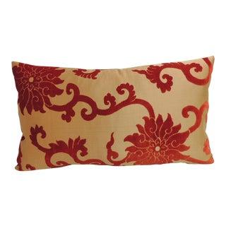 Antique Asian Silk and Cut Velvet Orange Decorative Lumbar Pillow