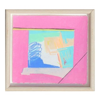 """Late 20th Century Rita Blasser """"Canyon Suite Six"""" Abstract Pink and Blue Palo Duro Texas Landscape Painting For Sale"""
