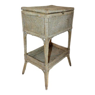 Early 20th Century Original Painted Sea Grass Side Table For Sale