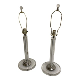 Antique Acrylic Table Lamps - a Pair For Sale